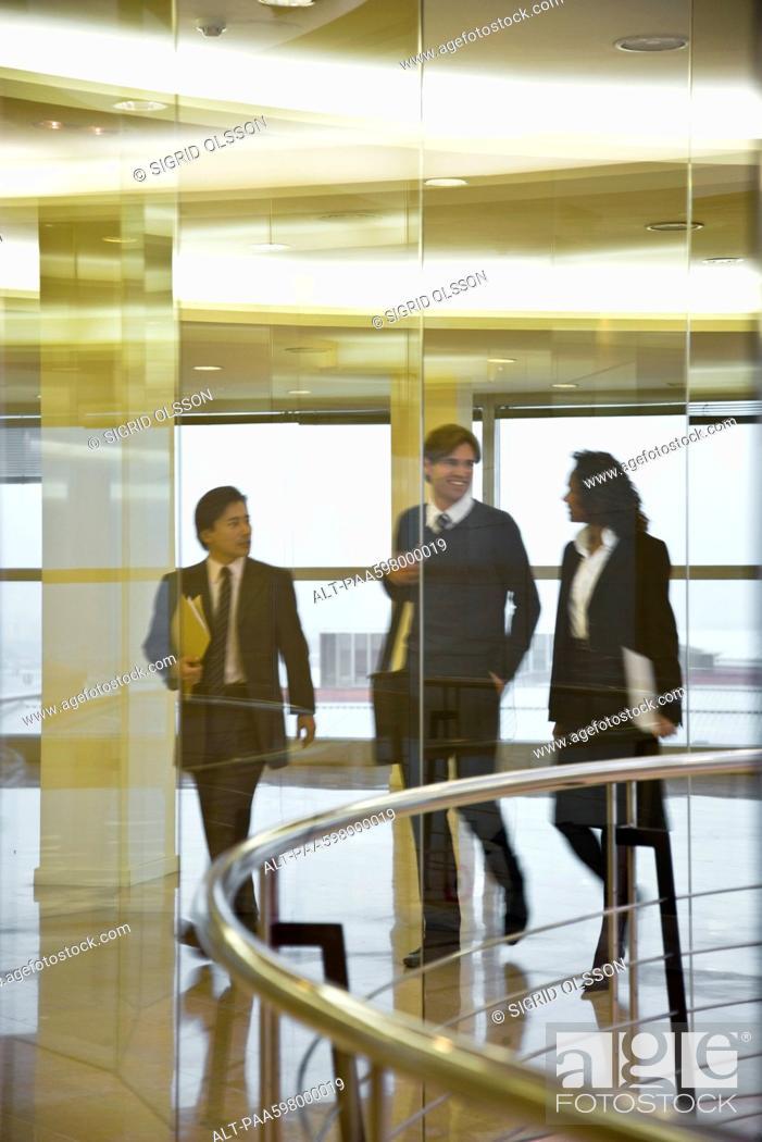 Stock Photo: Executives walking and talking together.