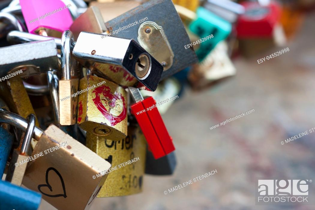 Stock Photo: A bunch of love locks, with copy space.