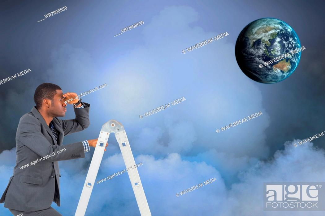 Stock Photo: Digital composite image of businessman on ladder looking at globe in sky.