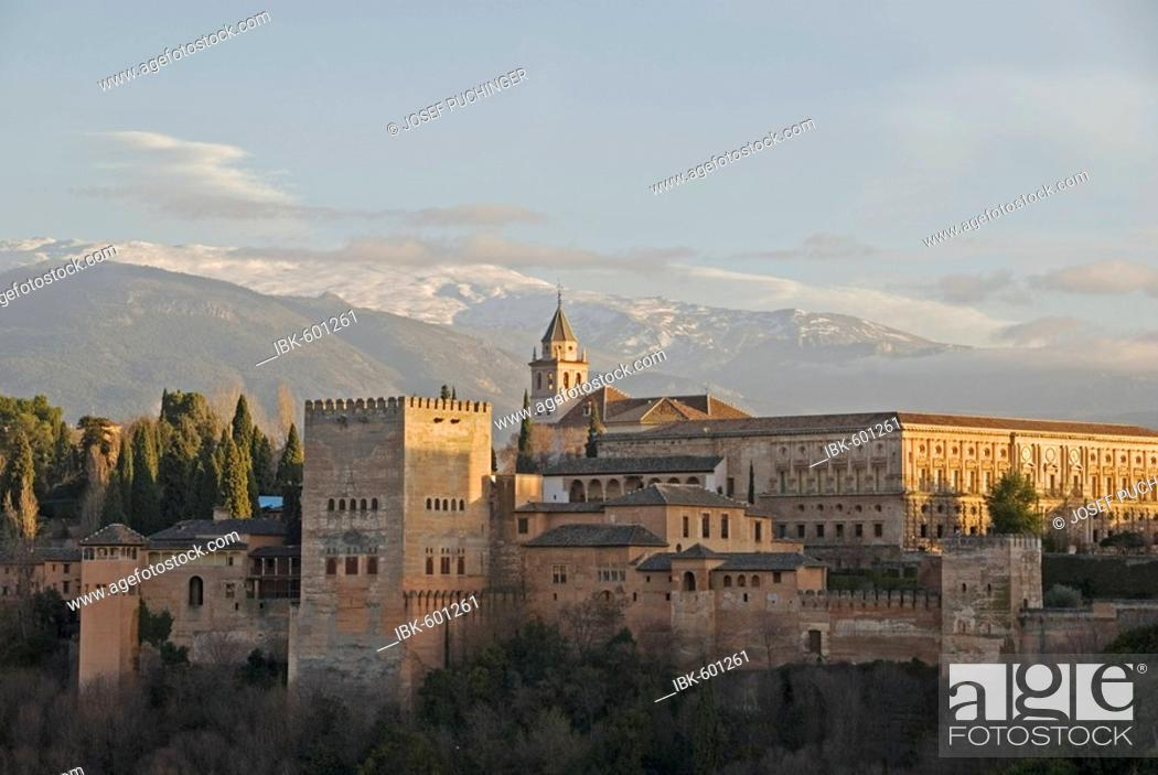 Stock Photo: Alhambra the red castle the last bastion of the moorish people, Andalusia, Granada, Spain.