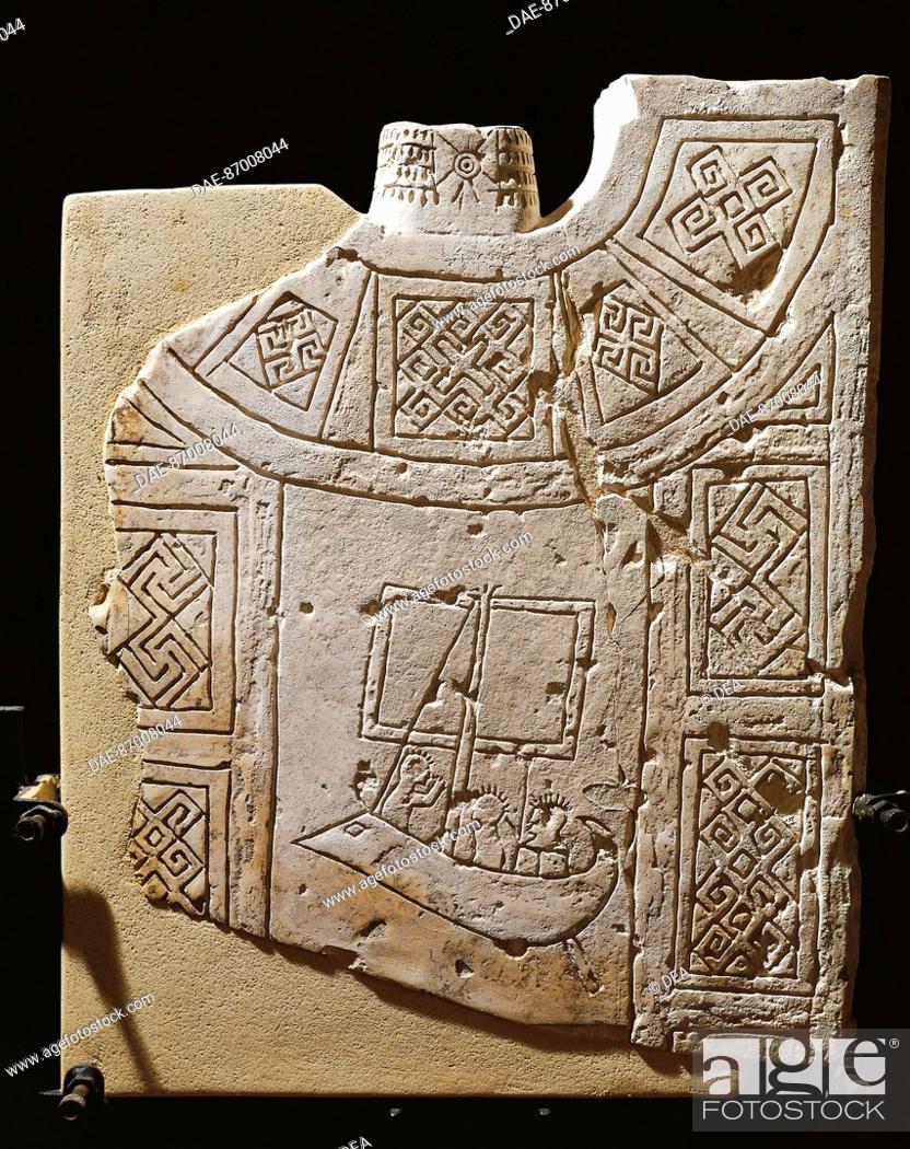 Stock Photo: PUGLIA, CULTURE 'OF DAUNI. Funerary stele with boats, VII-VI century BC  Manfredonia, Castello Svevo-Angioino Museo Archeologico Nazionale Del Gargano.