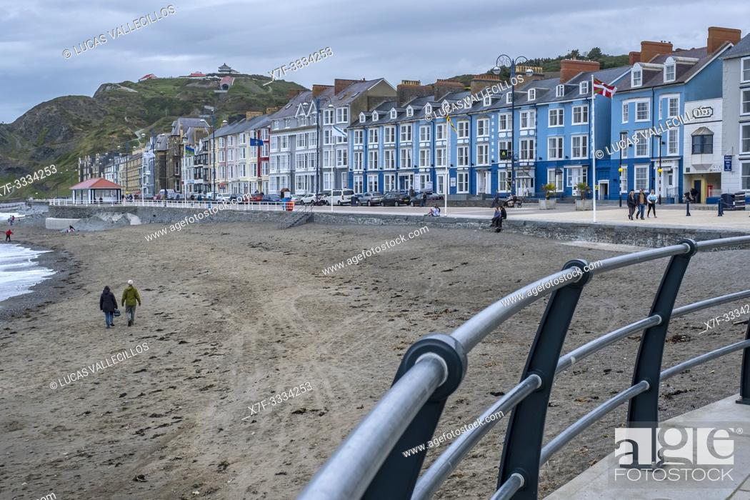 Stock Photo: The seafront promenade at Aberystwyth, Wales.