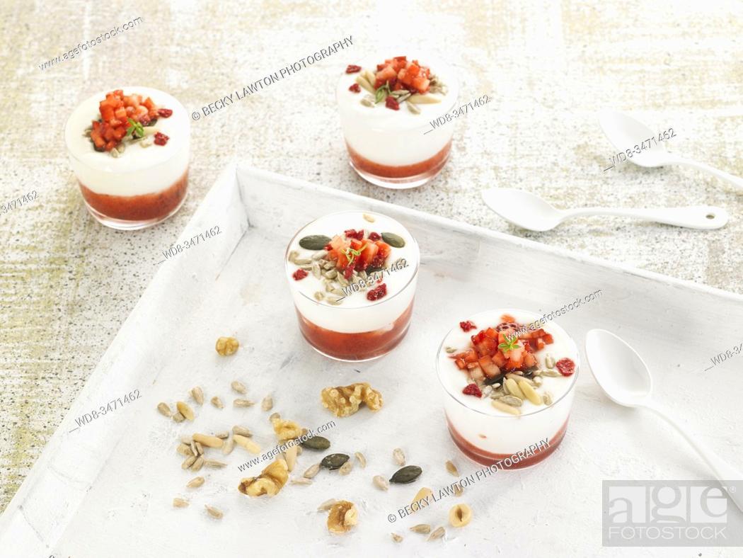 Stock Photo: yogur mermelada de fresones / strawberry jam yogurt.