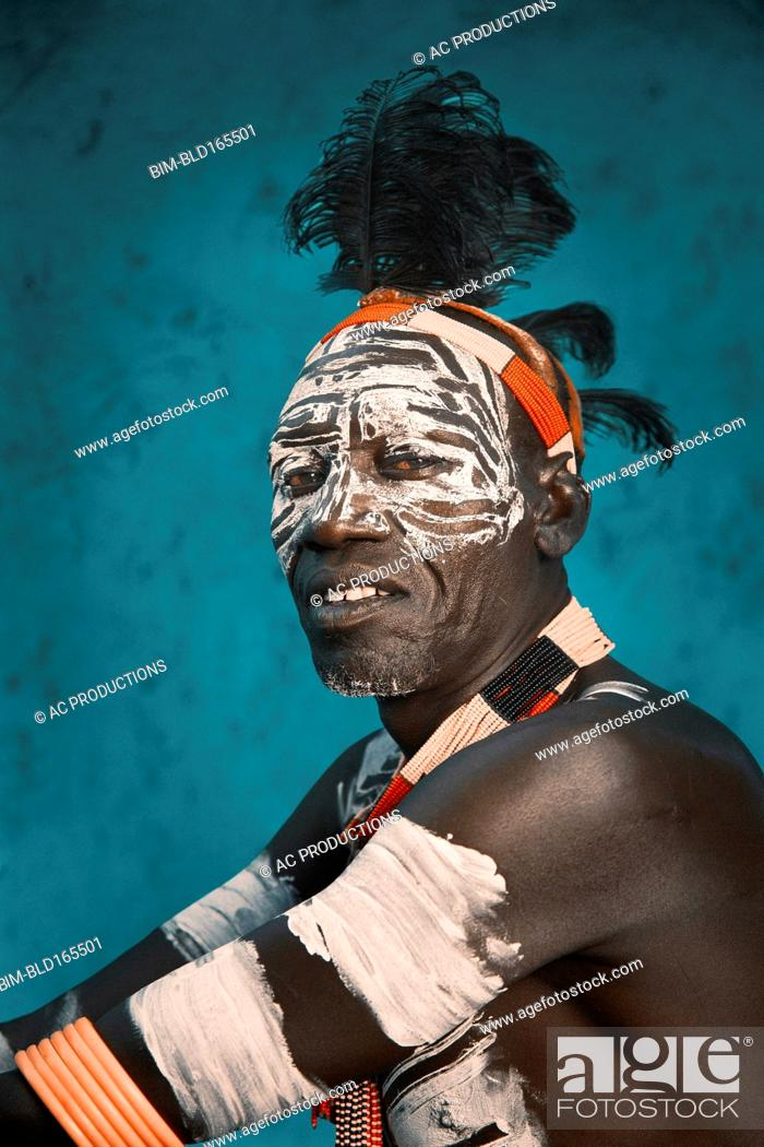 Black Man Wearing Traditional Body Paint Stock Photo Picture And Royalty Free Image Pic Bim Bld165501 Agefotostock