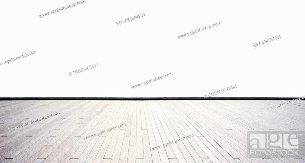Stock Photo: empty brick floor on white background.