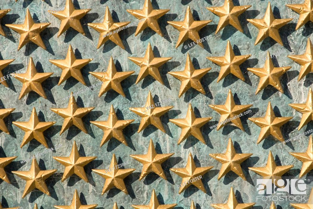 Stock Photo: Washington DC, USA, the National World War II Memorial on the Mall. Each star represents 100 soldiers who died.