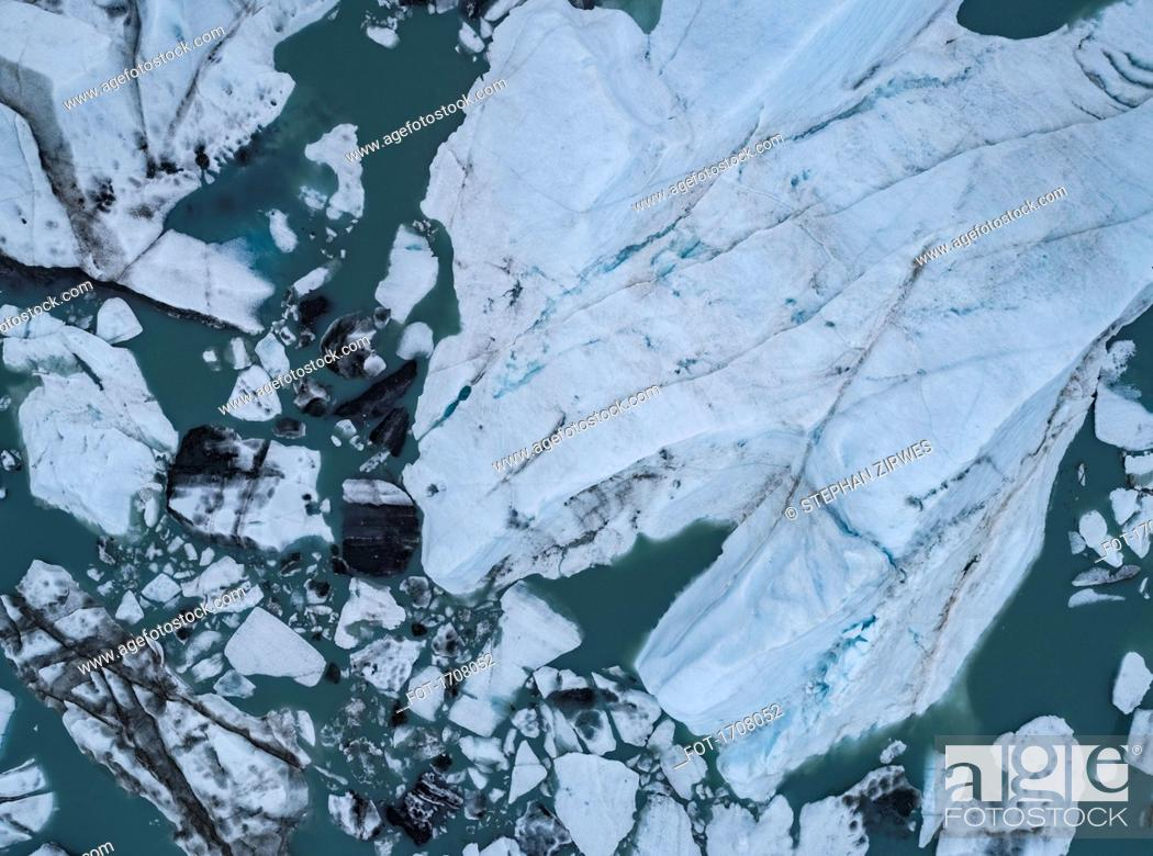 Stock Photo: Drone view of icebergs in lagoon, Lake George, Palmer, Alaska, USA.