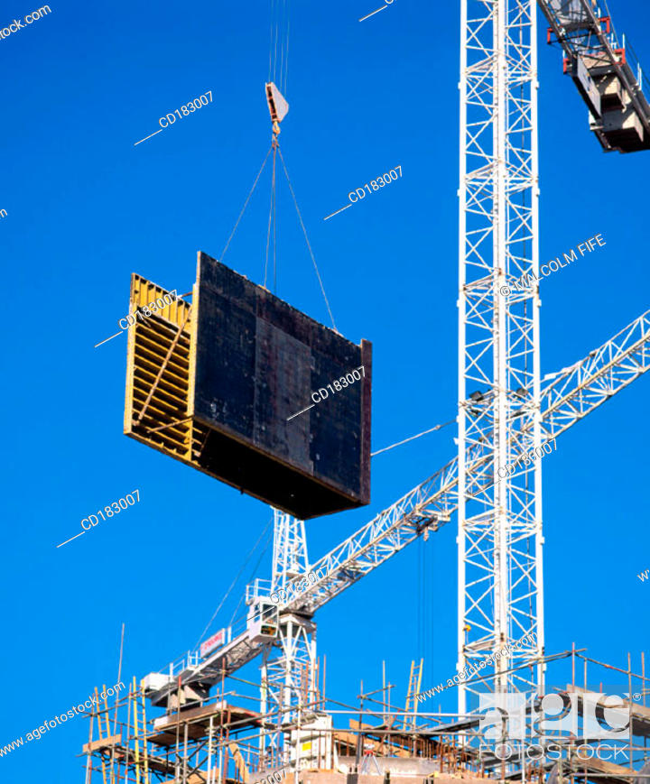 Stock Photo: Construction cranes.