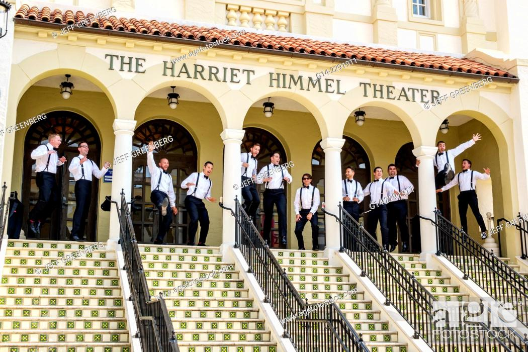Stock Photo Florida West Palm Beach Cityplace City Place Ping Mall Harriet Himmel Theater Theatre Front Entrance Groomsmen Wedding Photos