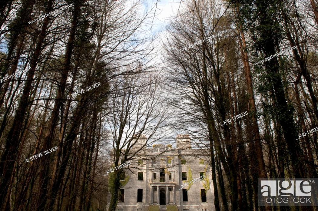 Stock Photo: Moore Hall, County Mayo, Ireland  George Moore, the Irish writer, was born here in 1852.