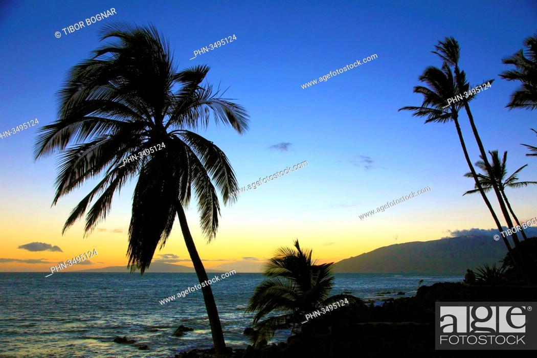 Stock Photo: Hawaii, Maui, Kihei, Kamaole Beach, sunset,.