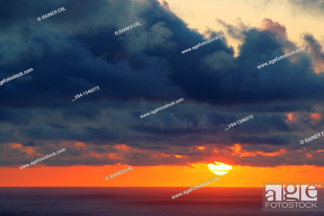 Stock Photo: Sunset near Mosteiros / Sao Miguel Island / Azores / Portugal.