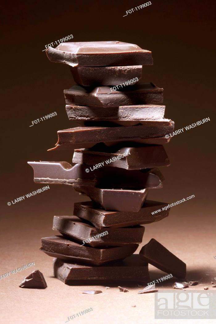 Stock Photo: A stack of dark chocolate.