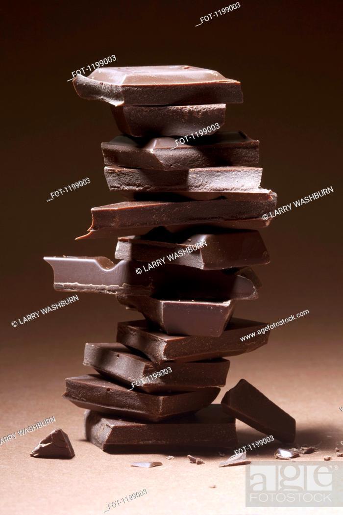 Stock Photo: A stack of dark chocolate.
