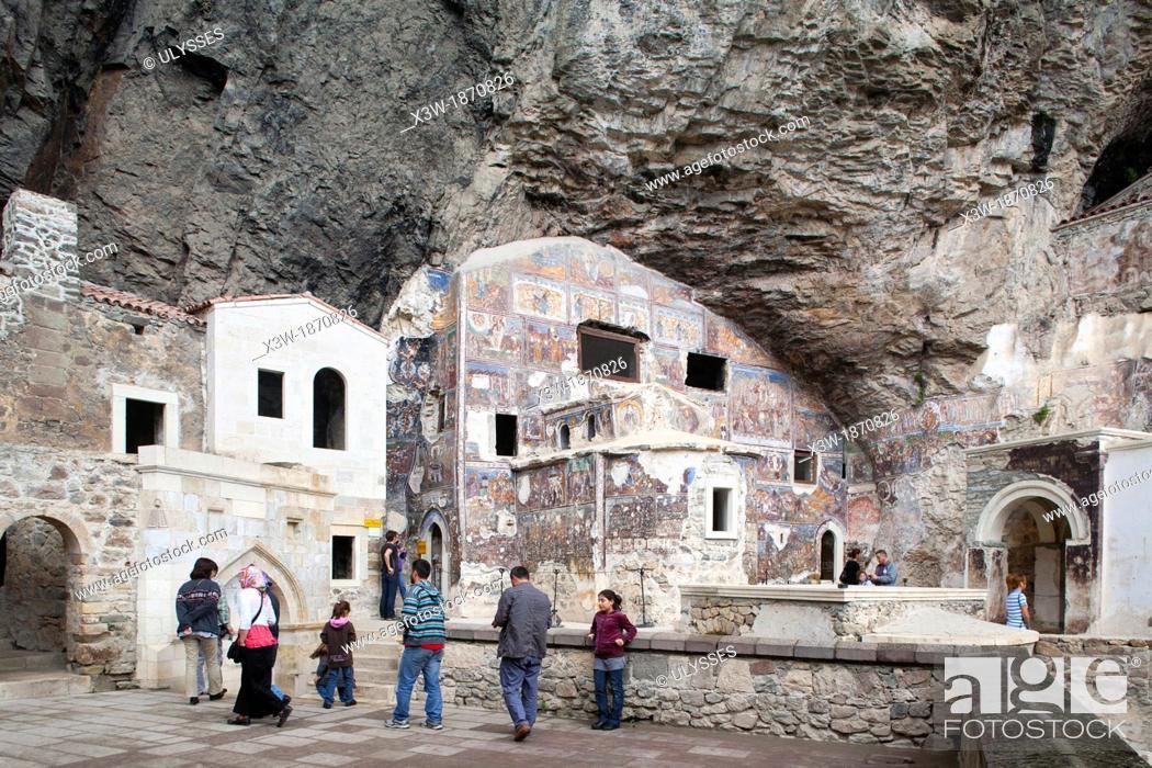 Stock Photo: monastery of the virgin mary, sumela, trabzon, black sea, turkey, asia.