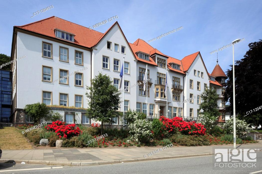 Stock Photo: Germany, Kiel, Kiel Fjord, Baltic Sea, Schleswig-Holstein, Kiel Institute for the World Economy.