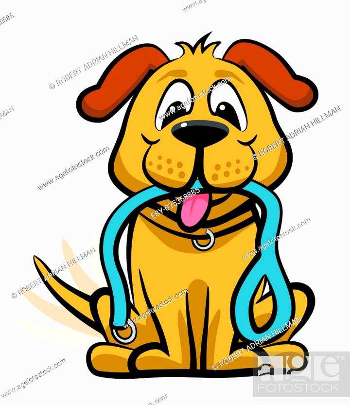 Stock Vector: Vector cartoon dog expectantly waiting for a walk with a leash in its mouth.