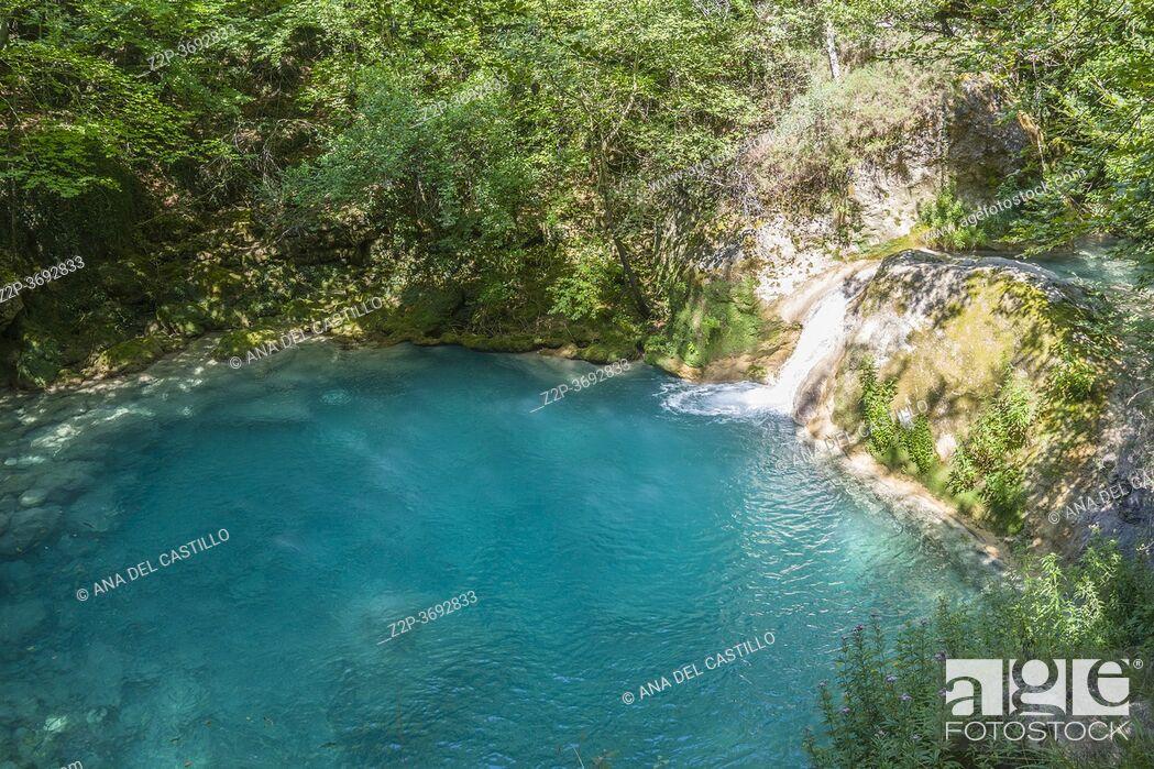 Stock Photo: Source of the River Urederra in Urbasa mountain range, Navarra, Spain.
