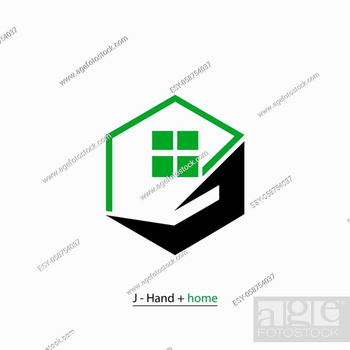 Stock Vector: Property business logo, Home care logo template, hand (letter J) and house design concept icon, isolated on white background.