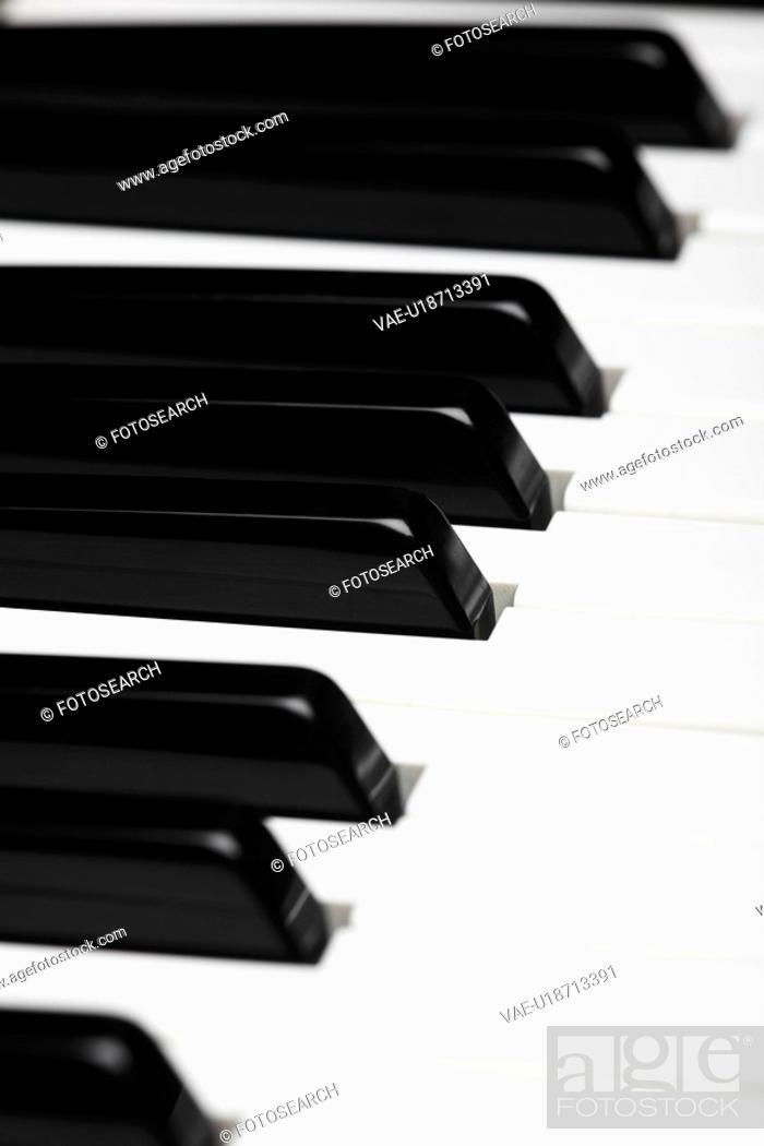 Stock Photo: Close-up of piano keys.