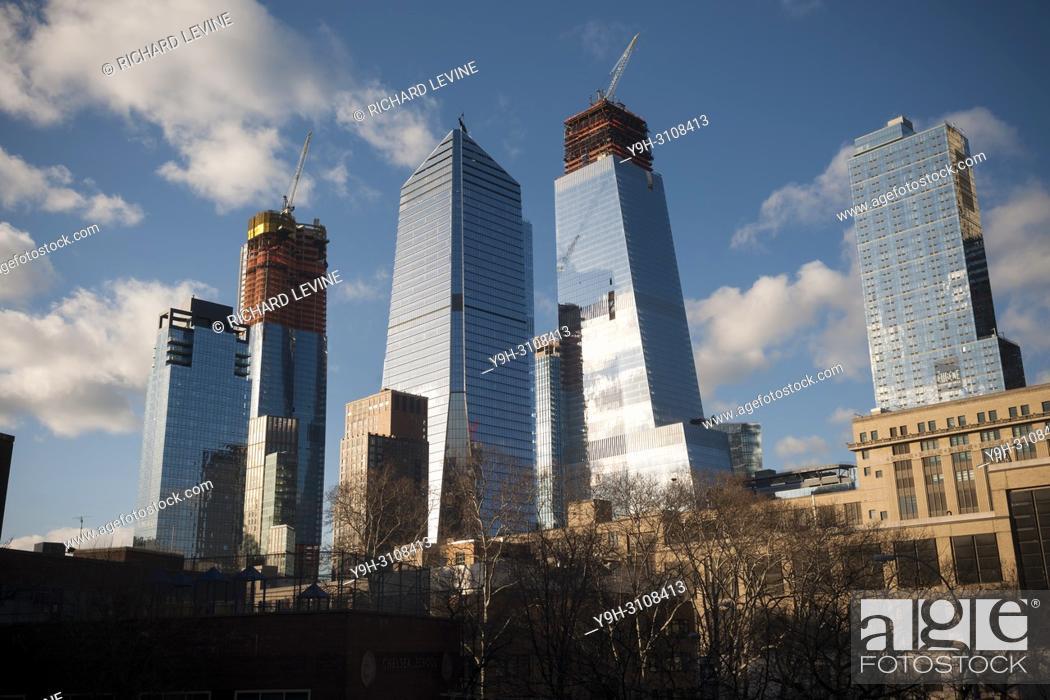 Stock Photo: 10 Hudson Yards, center left, 30 Hudson Yards, center right, and other Hudson Yards development in New York on Friday, March 16, 2018.
