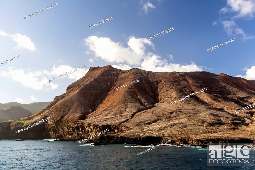 Stock Photo: The rugged shoreline of Ua Huka Island, Marquesas, French Polynesia, South Pacific, Pacific.
