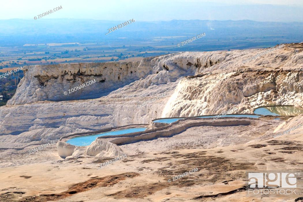Stock Photo: View of travertine pools and terraces in Pamukkale, Turkey.