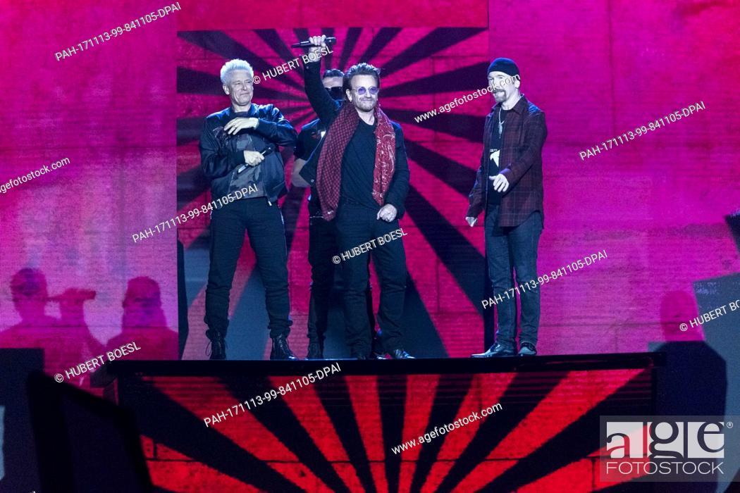 Irish rock band U2, Bono, The Edge, Adam Clayton and Larry