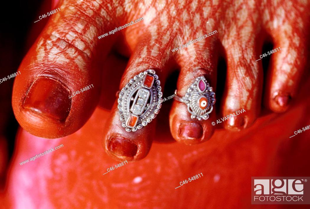Stock Photo: Woman's foot, Varanasi. Uttar Pradesh, India.