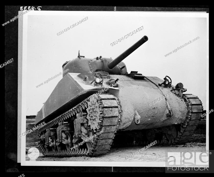 Stock Photo: M-4 Tank during Training, Aberdeen, Maryland, USA, Office of War Information, 1940's.