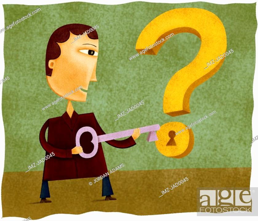 Stock Photo: A man with a key to unlock a question mark.