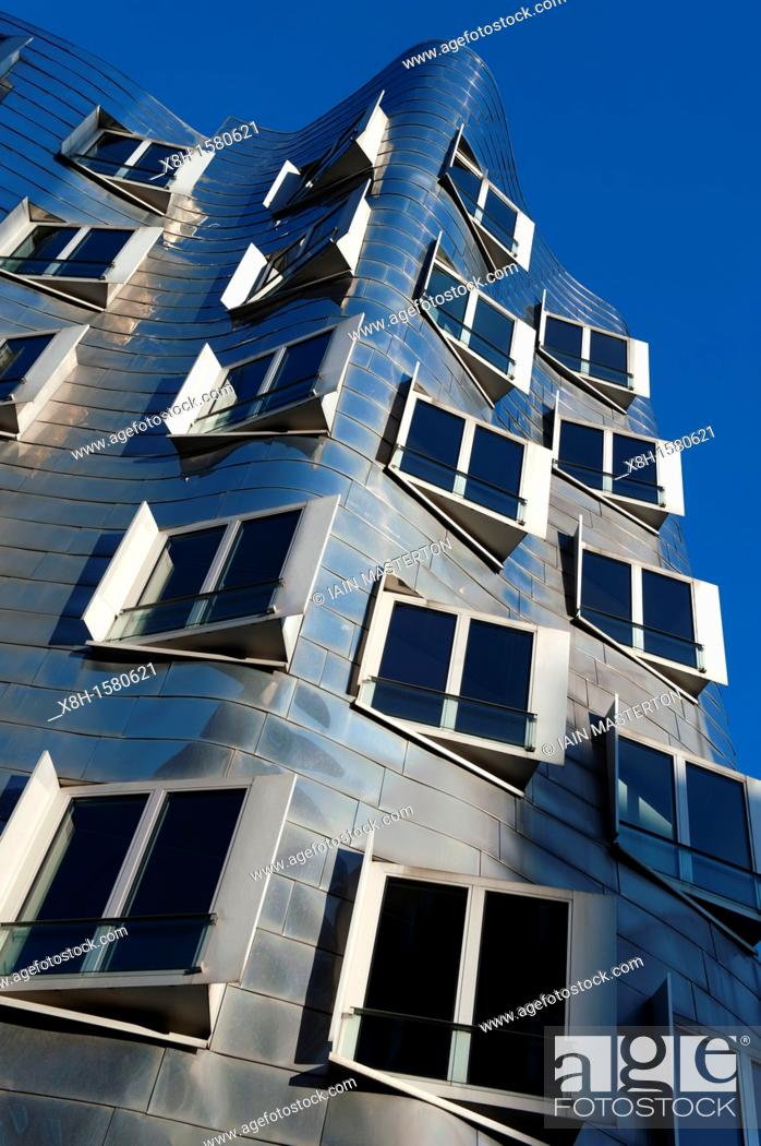 Stock Photo: Neuer Zollhof building designed by Frank Gehry in modern property development at Media Harbour or Medienhafen in Dusseldorf Germany.