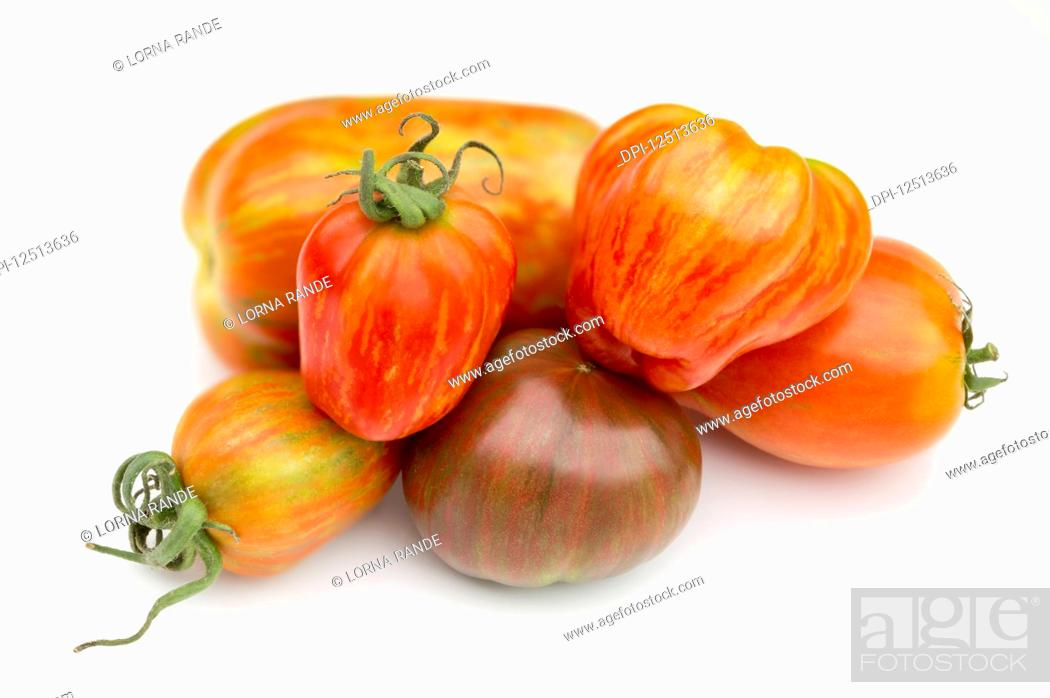 Photo de stock: Collection of heirloom tomatoes on a white background.