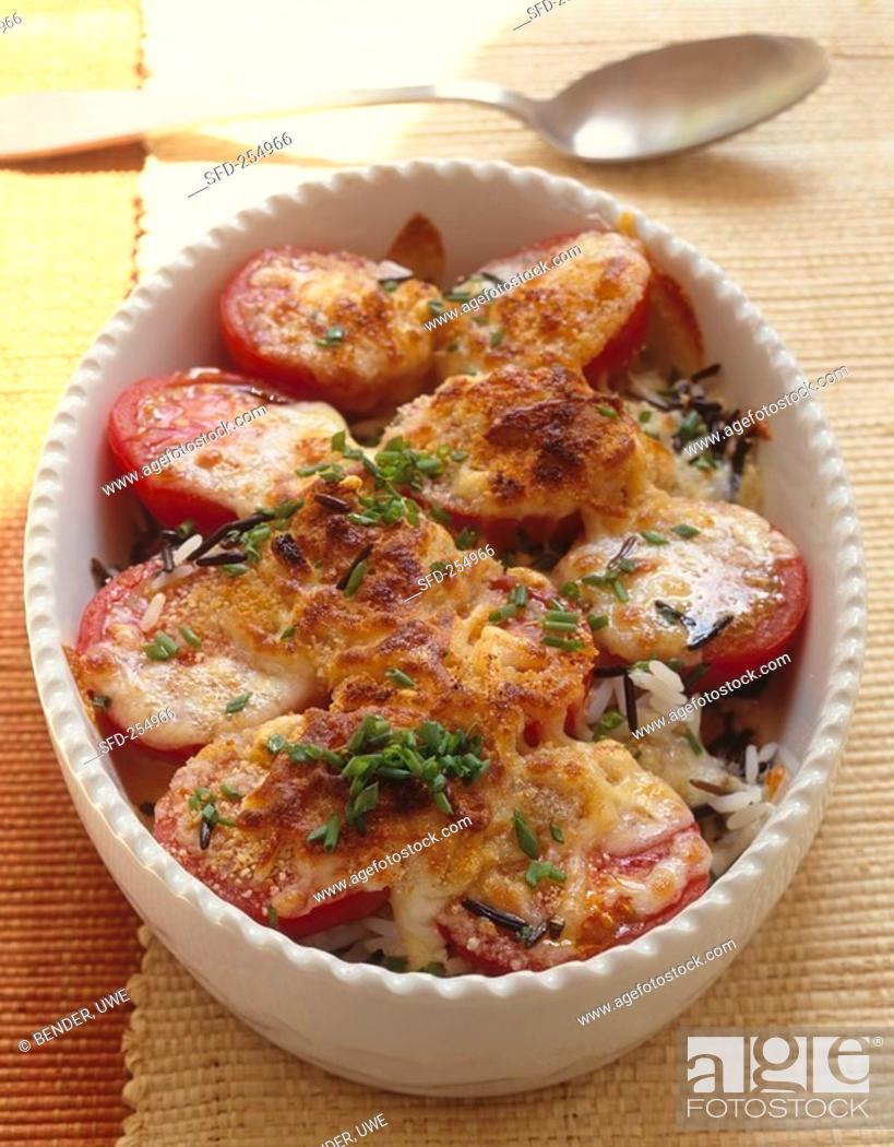 Stock Photo: Rice and tomato gratin in baking dish 2.