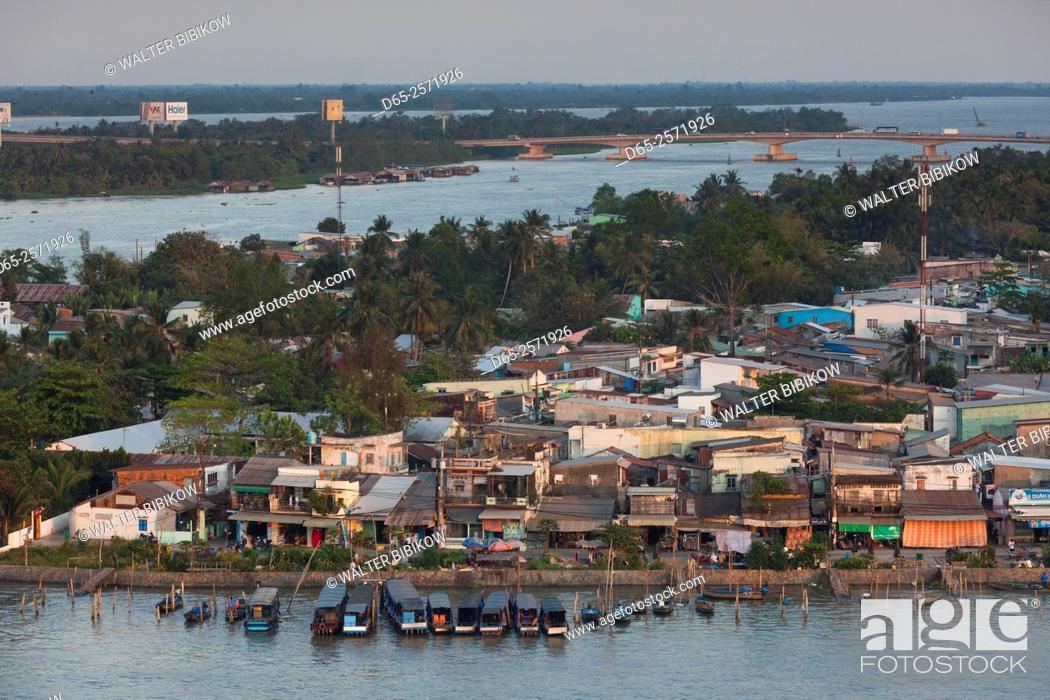 Stock Photo: Vietnam, Mekong Delta, Can Tho, elevated view of the East Bank of the Can Tho River, late afternoon.