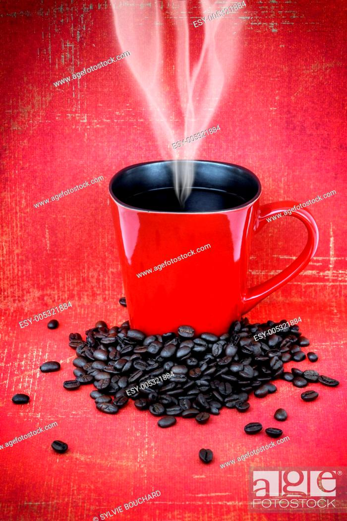 Stock Photo: Grungy red cup of coffee.