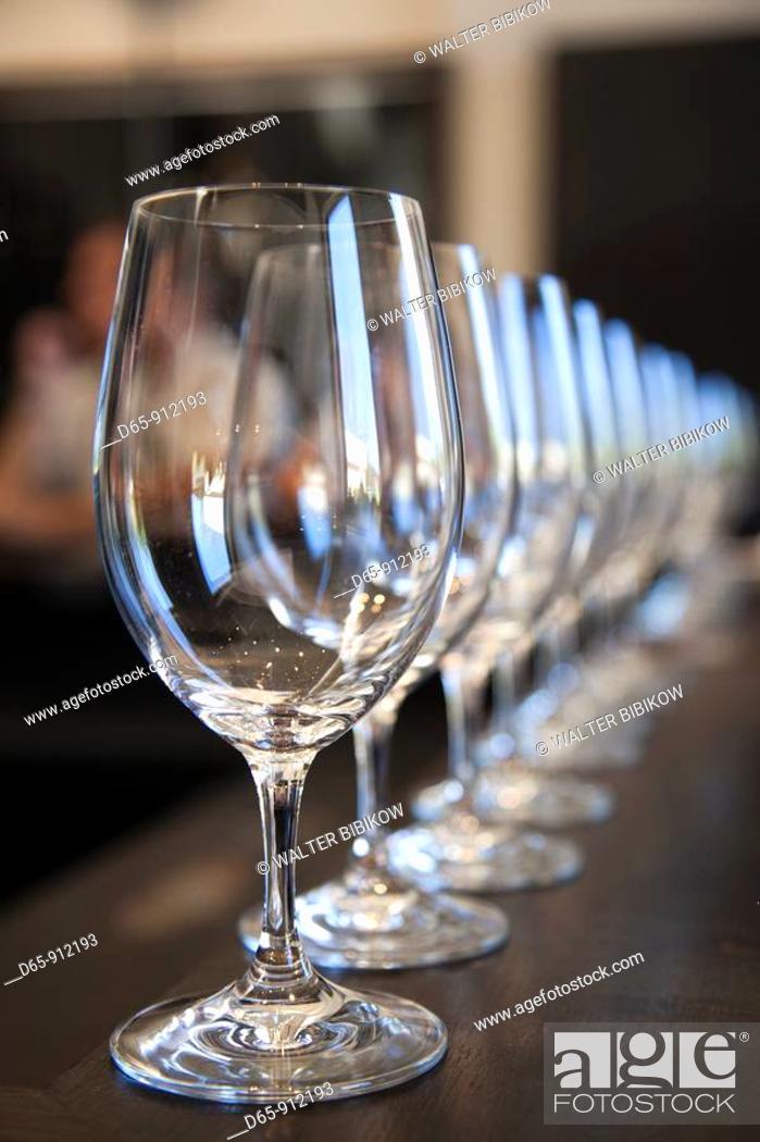 Stock Photo: Argentina, Mendoza Province, Lujan de Cuyo, Bodega Norton winery, wineglasses in the tasting room.