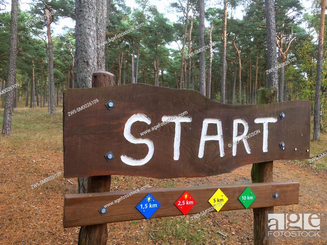 Stock Photo: Sign for start at jogging tracks in Ystad, Scania, Sweden.