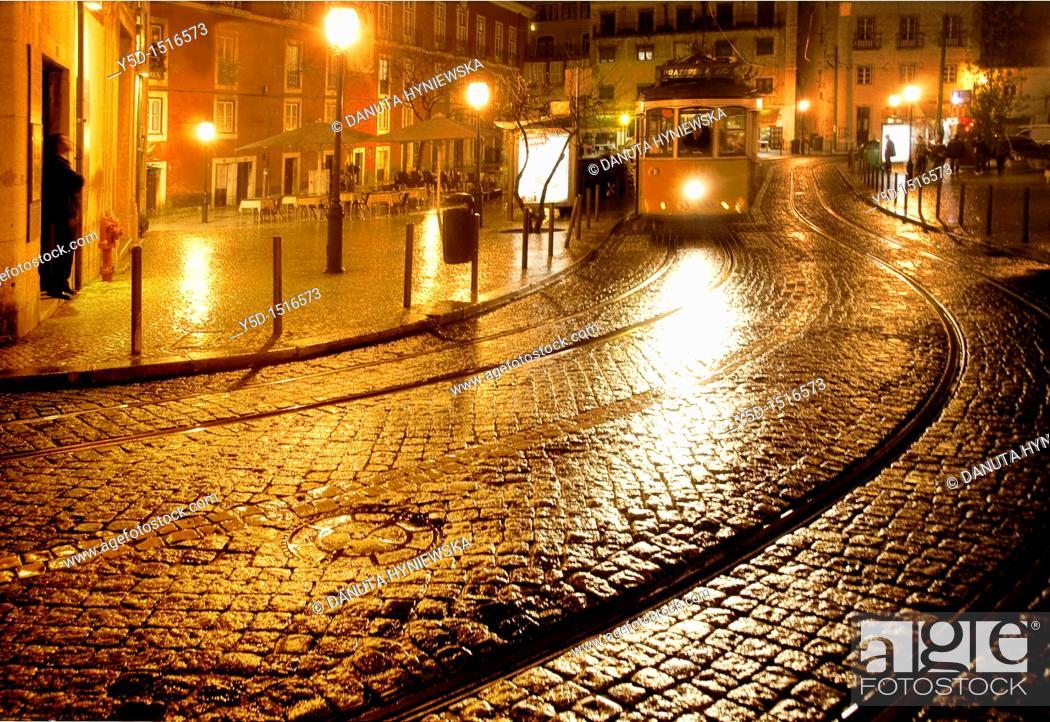 Stock Photo: nightscape, Lisbon, Portugal.