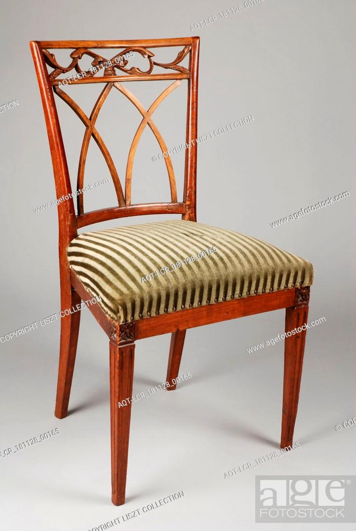 Stock Photo: Eggshade Louis Seize chair, chair furniture furniture interior design wood elmwood velvet, Eight lions Louis Seize chair with curved bars in the back of the.