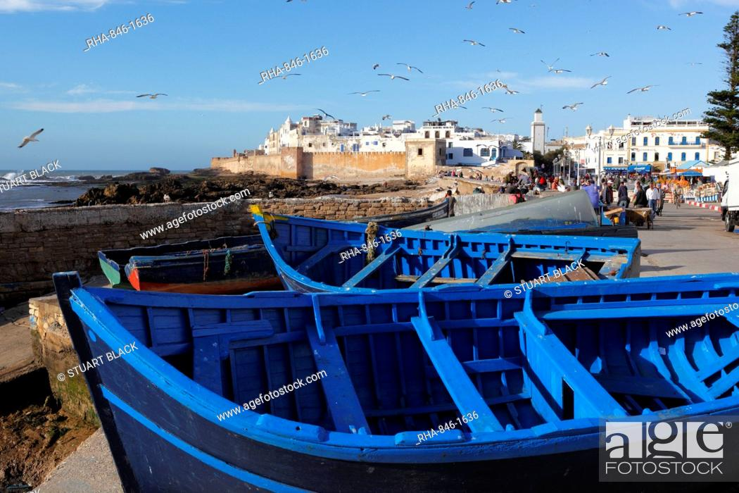 Stock Photo: View over the fishing harbour to the ramparts and medina, Essaouira, Atlantic coast, Morocco, North Africa, Africa.