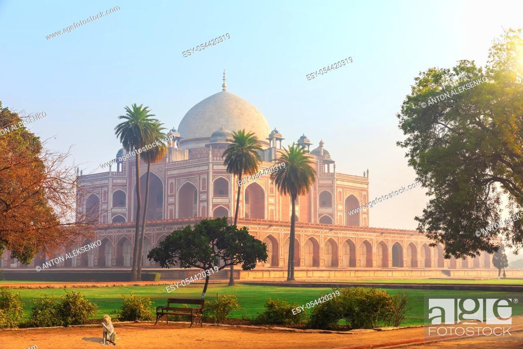 Stock Photo: Beautiful view of the Humayun's Tomb, Dehli, India.