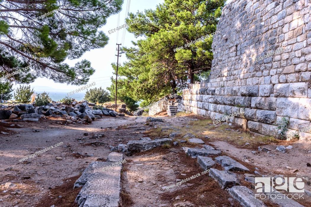 Stock Photo: View of Ancient Greek City in Priene,Soke,Aydin,Turkey.