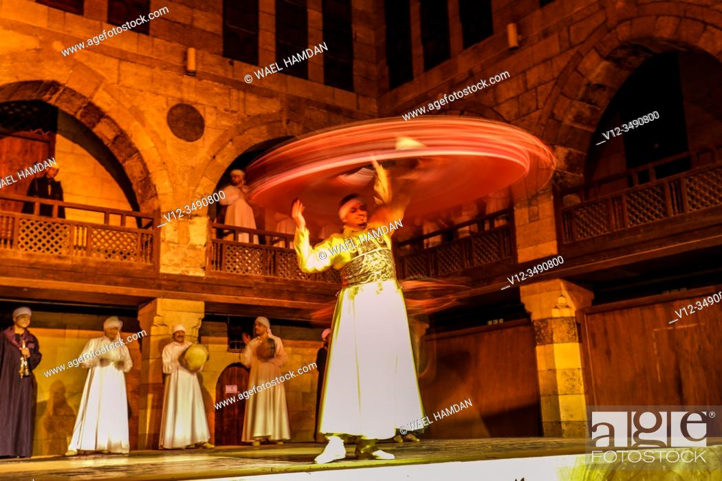 Stock Photo: Tanorah Show, Traditional sufi dance, Cairo, Egypt.