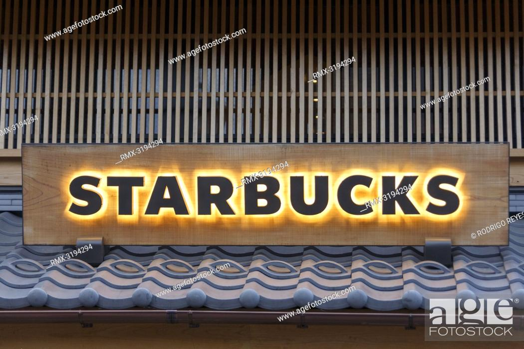 Stock Photo: December 5, 2018, Saitama, Japan - A signboard of Starbucks on display outside its shop in Kawagoe. The branch opened last March is located near to the Toki no.