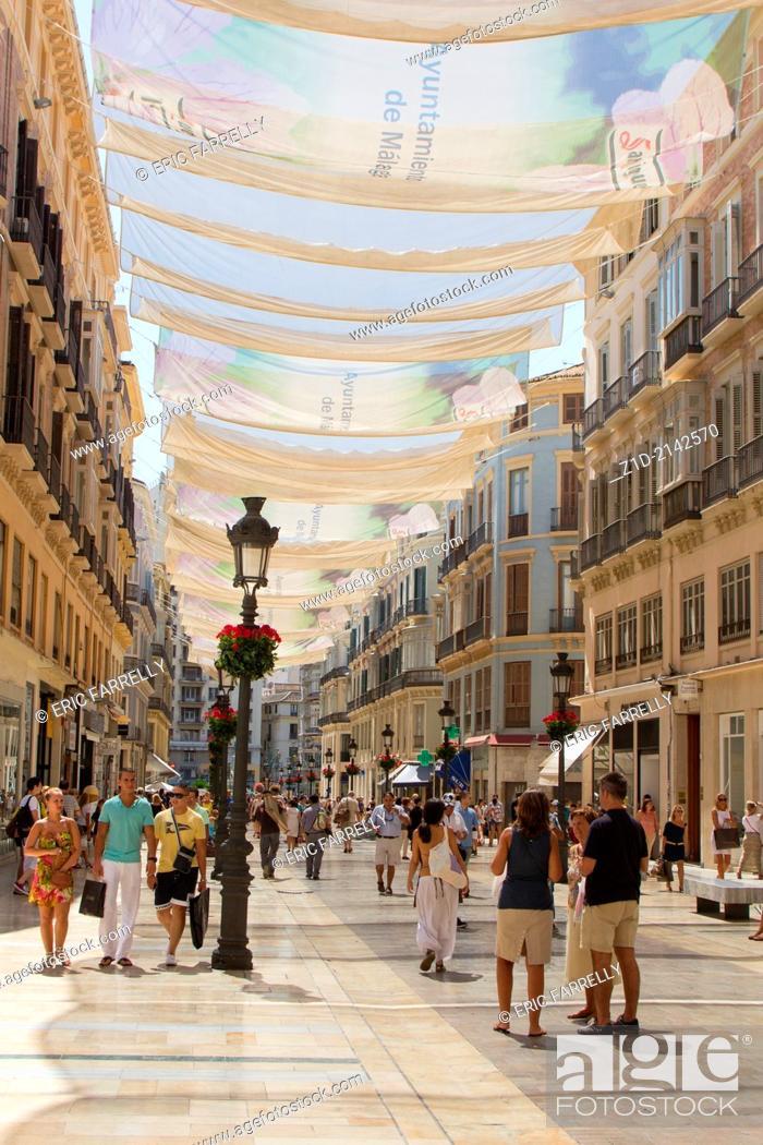 """Imagen: One of Malaga's main shopping precincts. """"""""Calle Marques de Larios"""""""" . Malaga Spain."""