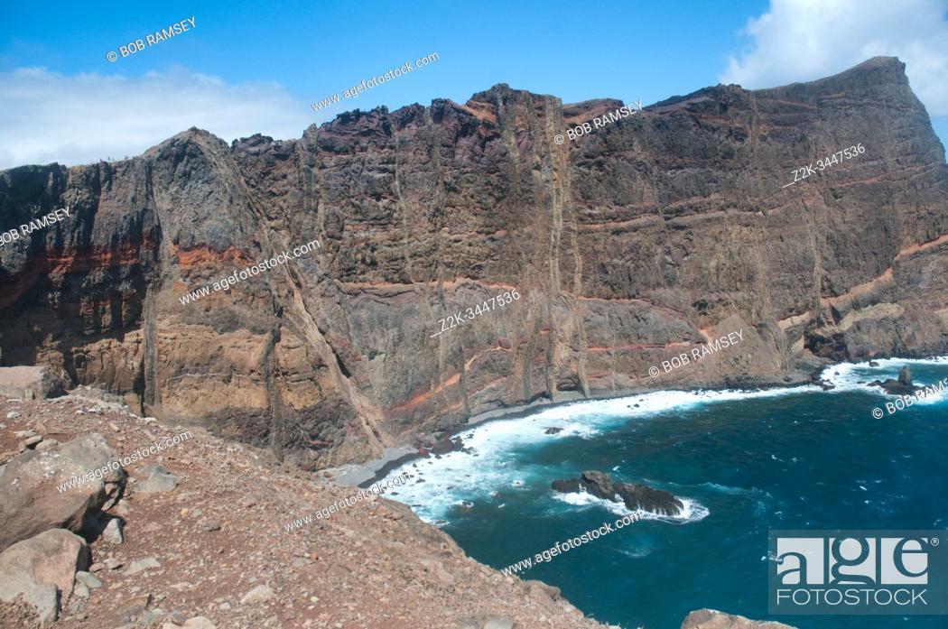 Stock Photo: Natural and vertiginous cliffs on Madeira island, Cap Sao Laurenço.