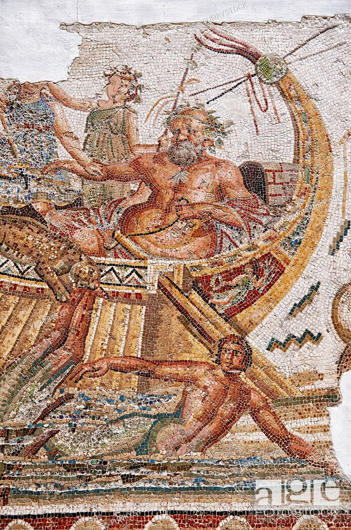 Stock Photo: Roman mosaic depicting Dionysus repelling pirates from his ship. He is accompanied by Acoetes, the helmsman and his tutor Silenus, right.