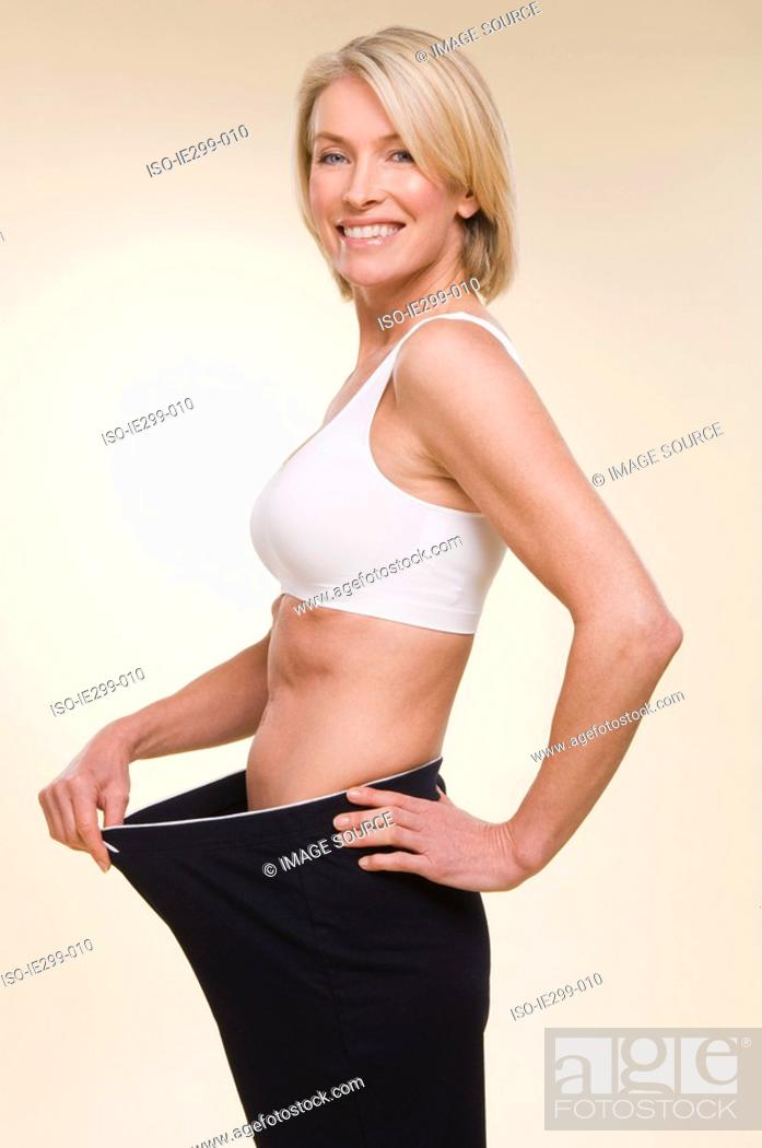 Stock Photo: Portrait of a woman who has lost weight.