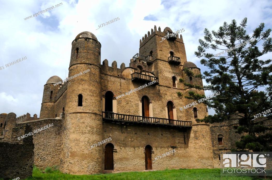 Stock Photo: Ethiopia, Amhara Region, Gondar, Fasil Ghebbi Unesco World Heritage.